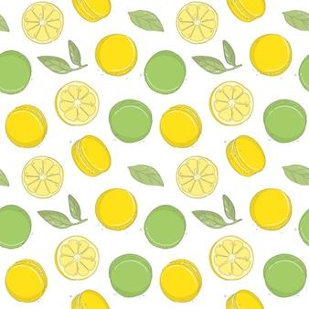 Hand draw fresh lemon pattern with macaroons