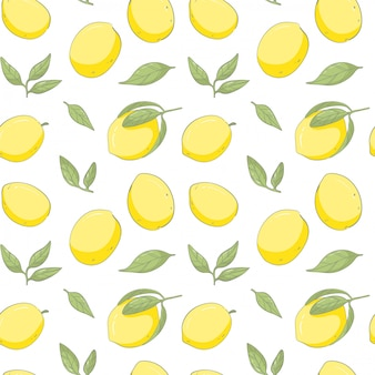 Hand draw fresh lemon pattern