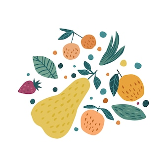 Hand draw fruits print. apple, strawberry, pear and cherry berries.