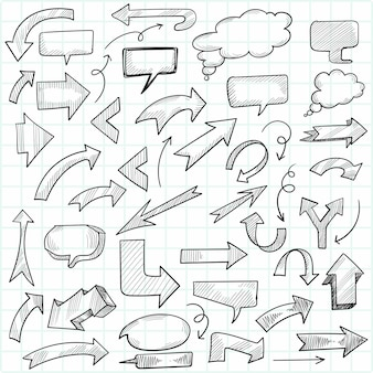 Hand draw geometric doodle arrow and speech bubble set