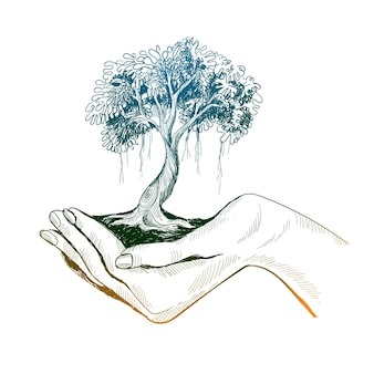 Рука рисовать девочек, держащих дерево земли эскиз дизайна