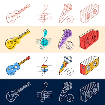 Hand draw guitar, note, microphone icon set in doodle style for your design.