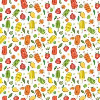 Hand draw ice cream seamless pattern