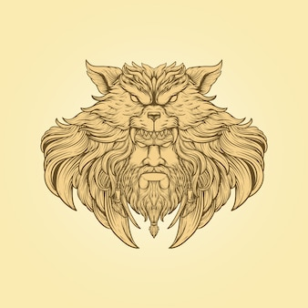 Hand draw illustration chief wolf head engraving style