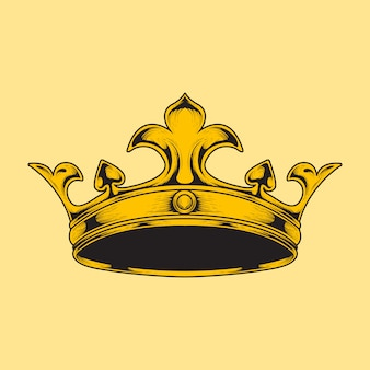 Hand draw illustration crown engraving style
