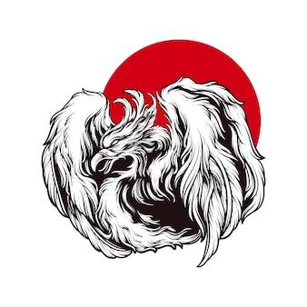 Hand draw illustration phoenix engraving style