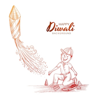 Hand draw indian festival diwali boy flying rocket celebration background