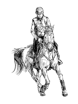 Hand draw of jockey