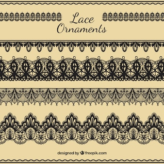 Hand draw lace ornaments set