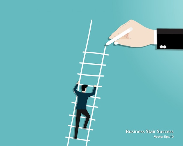 Hand draw ladder for a businessman