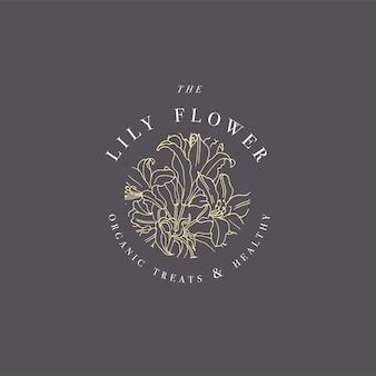 ユリの花のロゴイラストを手描きします。花の花輪。白い背景にタイポグラフィと植物の花のエンブレム。