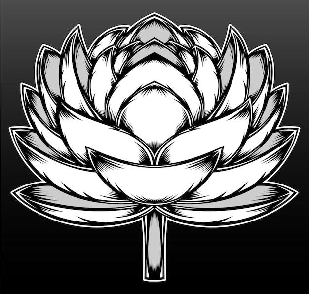 Рука рисовать цветок лотоса, изолированные на черном