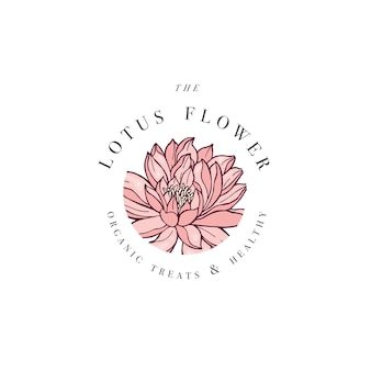 Hand draw lotus flowers logo card