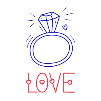 Hand draw love diamond ring icon in doodle style for your design with lettering.