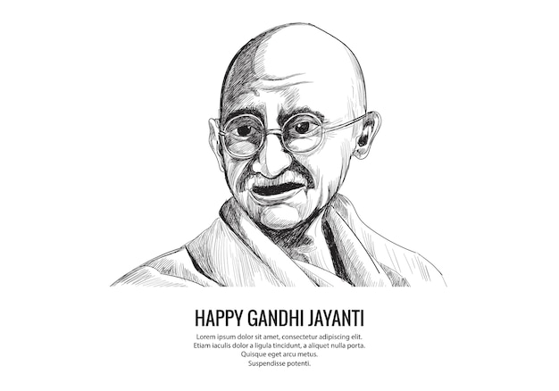 Hand draw mahatma gandhi sketch for gandhi jayanti