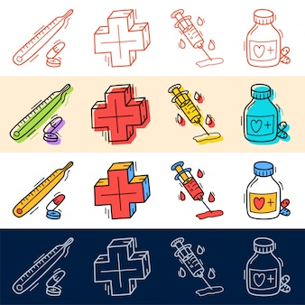 Hand draw medical plus, pill icon set in doodle style for your design.