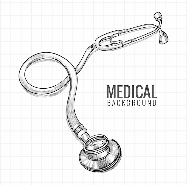 Hand draw medical stethoscope sketch design