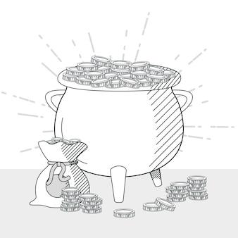 Hand draw money bag and coins pot cartoons