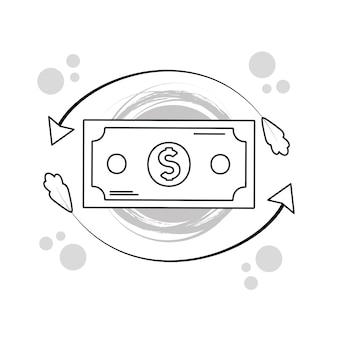 Hand draw money billet cartoons