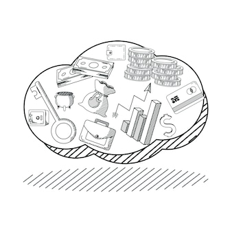 Hand draw money and business in cloud cartoons