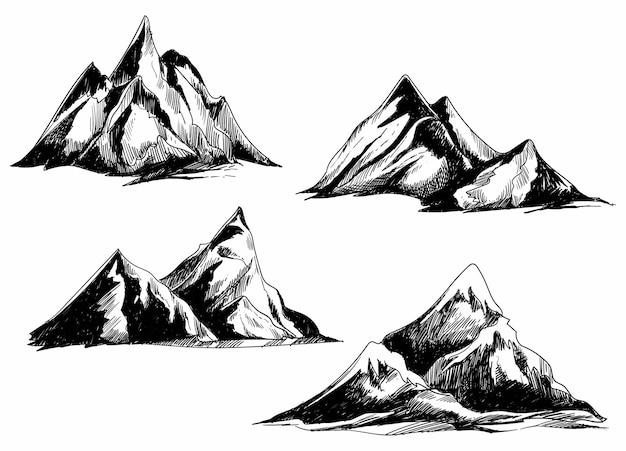 手描きモノクロ山セットスケッチデザイン