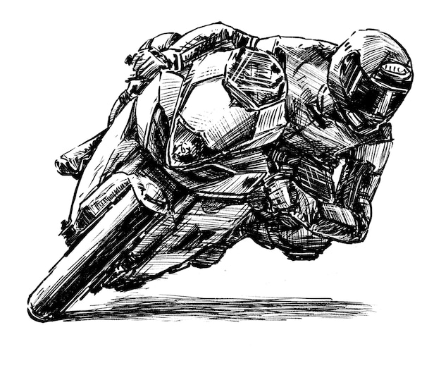 Hand draw of motorcycle racing