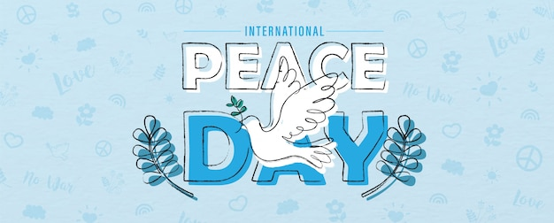 Hand draw and one line style in a peace dove shape on the name of event lettering, olive plants and peace day object pattern and blue background.