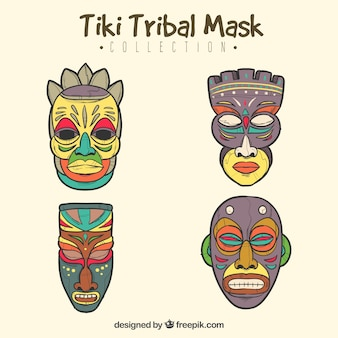 Hand draw pack of exotic tribal masks