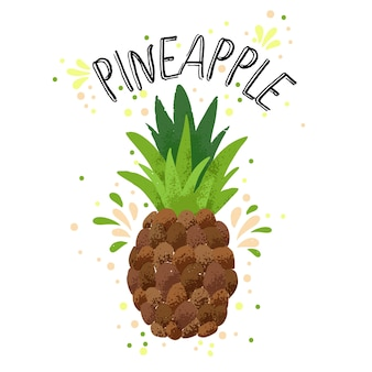 Hand draw pineapple illustration. yellow ripe pine apple with juice splash isolated on white background.