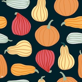 간단한 낙서 스타일 벡터 배경에서 손으로 호박 원활한 패턴을 그립니다. 어두운 배경에 격리된 다양한 모양과 크기의 다채로운 호박입니다. 할로윈, 추수 감사절, 수확을 위한 템플릿