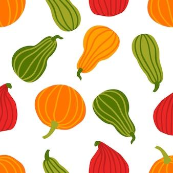 손으로 그리는 간단한 낙서 스타일 벡터 배경에서 호박 원활한 패턴 다양 한 모양과 흰색 배경에 고립 된 크기의 다채로운 호박. 할로윈, 추수 감사절, 수확을 위한 템플릿