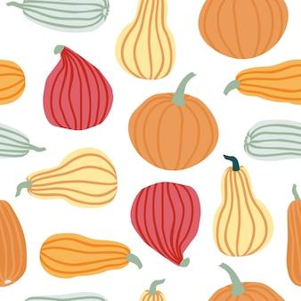 손으로 그리는 간단한 낙서 스타일 벡터 배경에서 호박 원활한 패턴 흰색 배경에 고립 된 다른 모양의 파스텔 색상에 호박. 할로윈, 추수 감사절, 수확을 위한 템플릿