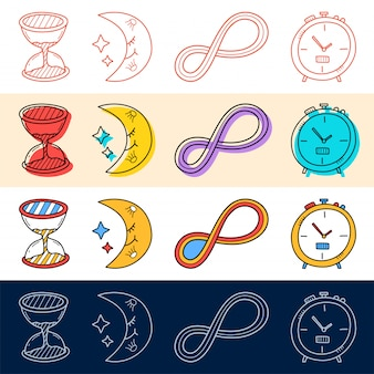 Hand draw sand clock, moon, endless icon set in doodle style for your design.