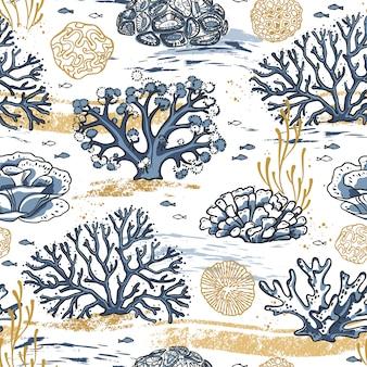 Рука рисовать бесшовные модели живых кораллов, изолированных на белом