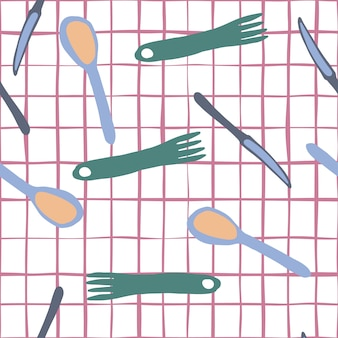 Hand draw seamless pattern with cutlery on stripe background.