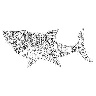 Hand draw of shark in zentangle style