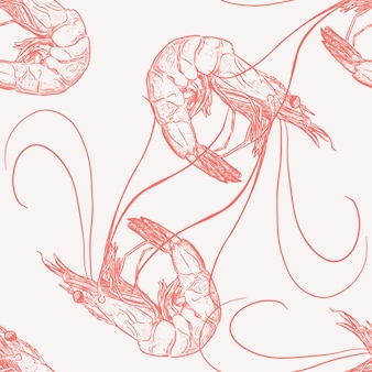 Hand draw of shrimp seamless pattern vector.