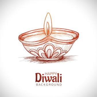 Hand draw sketch diwali oil lamp festival background