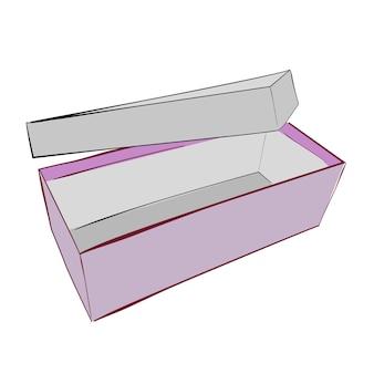手描きスケッチベクトルテンプレートまたはモックアップ紫靴ボックス、白で隔離