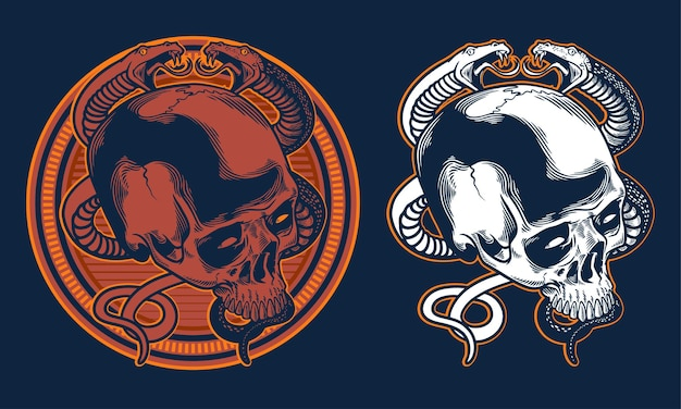 頭蓋骨とヘビのビンテージイラストを手描き