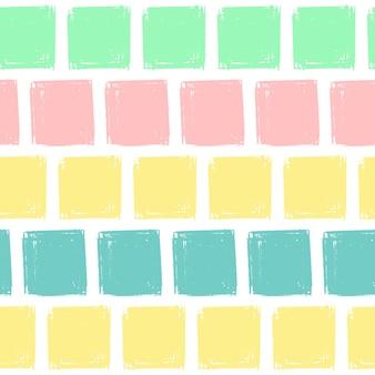 손 그리기 사각형 패턴 키즈 블루, 핑크, 민트, 옐로우. 벡터 끝 없는 배경 연필 파스텔 색상의 사각형의 질감입니다. 포장, 아기 섬유, 웹 사이트 배경 템플릿