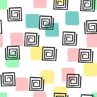 손으로 그리는 사각형 나선형 패턴 키즈 블루, 핑크, 민트, 옐로우. 벡터 끝 없는 배경 연필 파스텔 색상의 사각형의 질감입니다. 포장, 아기 섬유, 웹 사이트 배경 템플릿