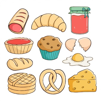 Hand draw style of delicious pastry with strawberry jam, cupcake, cheese and bread