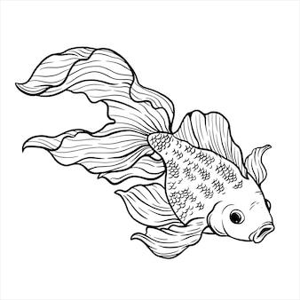 Рука рисовать стиль вектора золотая рыбка