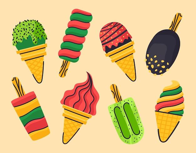 손으로 그리는 여름 아이스크림과 아이스 캔디