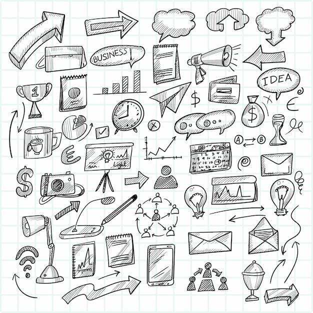 Hand draw technology sketch doodle set design