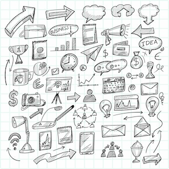 Hand draw technology sketch doodle set design