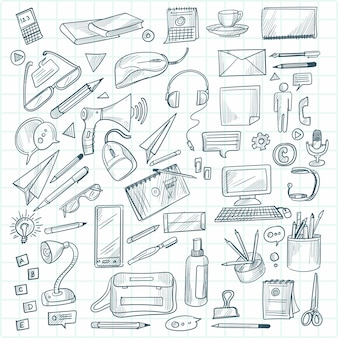 Hand draw technology sketch icon doodle set design