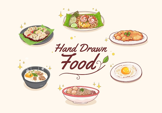 Набор рисованной тайской еды