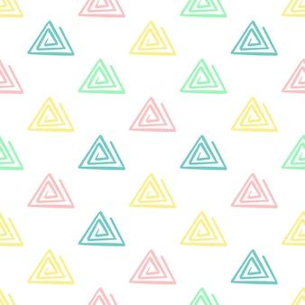 손 그리기 삼각형 패턴 키즈 블루, 핑크, 민트, 옐로우. 벡터 끝 없는 배경 연필 파스텔 색상에 삼각형의 질감입니다. 포장, 아기 섬유, 웹 사이트 배경 템플릿